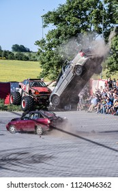 Poland, Svobodzin, July 16, 2018. Autoshow with professional stuntman