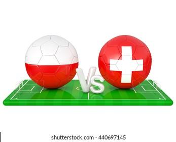 Poland / Switzerland soccer game 3d illustration
