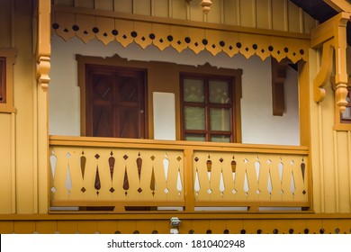Poland. Szczawnica - a spa town in the Lesser Poland Province, in the Nowy Targ County. Wooden balcony.