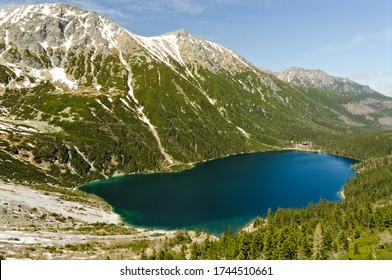 Poland Tatra Mountains (Morskie Oko). Spring view of the sea eye. May in the mountains. Spring in the mountains. - Shutterstock ID 1744510661