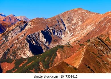 Poland, Tatra Mountains, Zakopane - Czerwone Wierchy, Malolaczniak, Ciemniak, Krzesanica and Suchy Wierch Kondracki peaks, Litworowa Pass and Rozpadla Valley with Western Tatra mountain range panorama