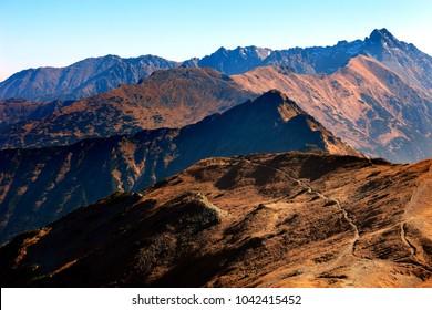 Poland, Tatra Mountains, Zakopane - Pass under Kopa Kondracka, Kasprowy Wierch and Swinica peaks with High Tatra mountain range panorama in background