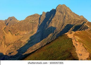 Poland, Tatra Mountains, Zakopane - Swinica, Mnich and Liliowe peaks, Pass under Swinica and Trail to Swinica with High Tatra mountain range panorama in background