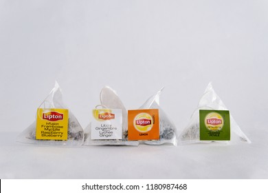 POLAND, TYCHY - SEPTEMBER 16, 2018: Instant tea LIPTON. A view of four different LIPTON express teas. The concept of drinking black express tea.