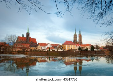 Poland. View on the old city in Wroclaw. Ostrow Tumski in december
