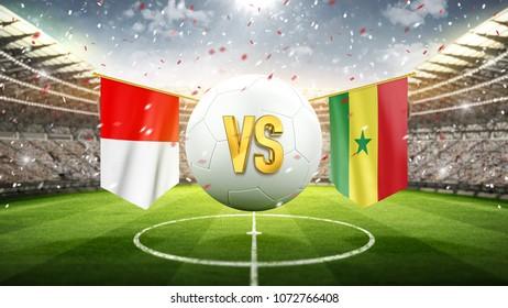 Poland vs Senegal. Soccer concept. White soccer ball with the flag in the stadium, 2018. 3d render