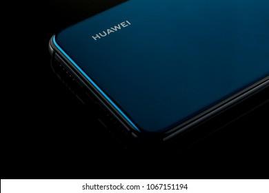 Poland, Warsaw -04.2018: Huawei P20 on black background
