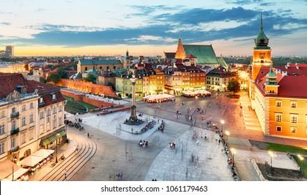 Poland, Warsaw city at night - Shutterstock ID 1061179463