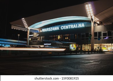 POLAND, WARSAW - JULE 30, 2018:  Central Railway Station in Warsaw. Evening shot, old modernist building of Warszawa Centralna. Night rush in big city