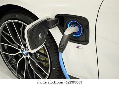 Poland, Warsaw - March, 31, 2017: BMW I8 on charging station