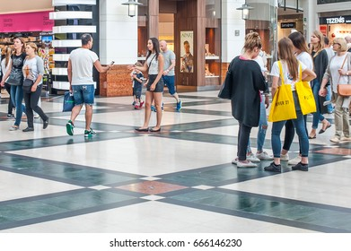 Poland, WARSAW-June 24, 2017: People walk around the big gallery, buy clothes and other things, rest in restaurants and communicate with each other.Poland, WARSAW,June 24, 2017.