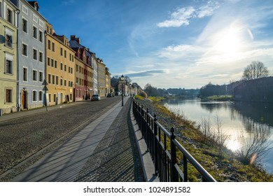 Poland, Zgorzelec 28 December 2017: European city street in the morning in fine weather passing along the river