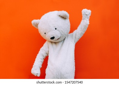 Polar bear character with a message for humanity, about global warming and pollution problems on our planet