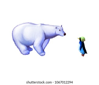 The Polar Bear and Penguin with Fantastic, Realistic and Futuristic Style. Video Game's Digital CG Artwork, Concept Illustration, Realistic Cartoon Style Scene Design