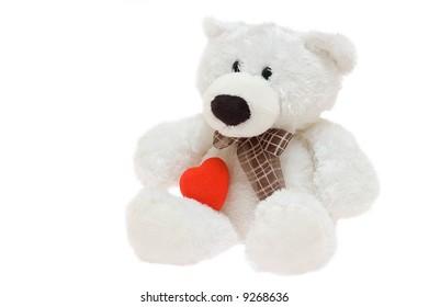 polar bear toy with a heart