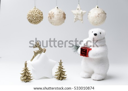 polar bear winter christmas decorations on white background