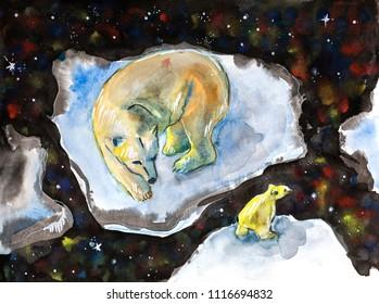 polar bears, ecological illustration