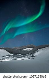 Polar lights, aurora .night sky.  Moon Valley in Atacama Desert, Chile