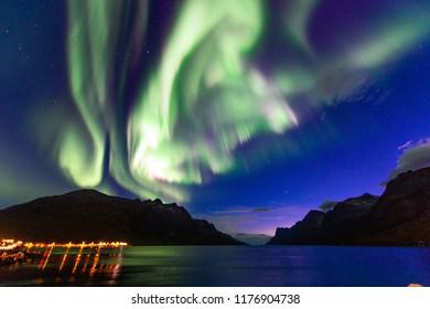 The polar lights in Norway. TromsoюErsfjord
