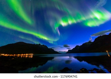 The polar lights in Norway. TromsoюErsfjord