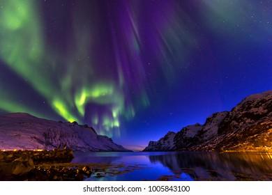 The polar lights in Norway . Ersfjord.Tromso