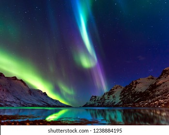 The polar lights in Norway. Tromso.