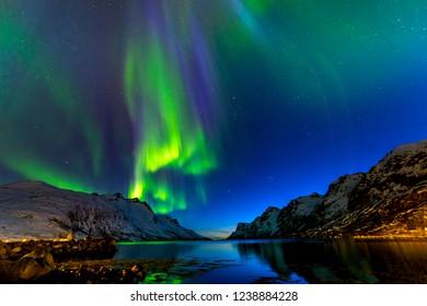 The polar lights in Norway. Tromso.