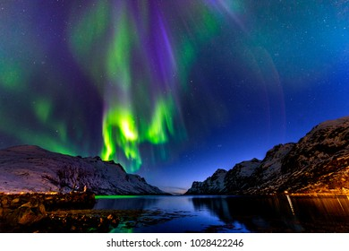 The polar lights in Norway. Tromso.Ersfjord