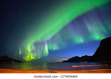 The polar lights in Norway. Tromso.Grotfjord