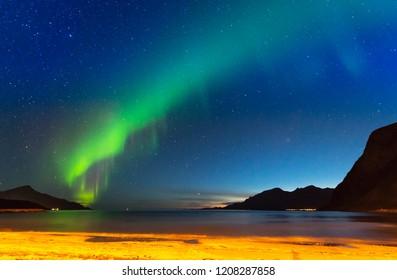 The polar lights in Norway. Tromso.Grotfjord