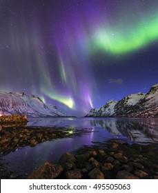 The polar lights in Norway,Tromso ,Ersfjord