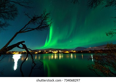 the polar lights over the lake.Tromso.Prestvann