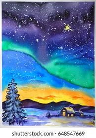 Polar lights, watercolor illustration