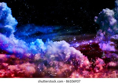 The polar Northern Lights and the stars shine through the clouds and look like a birth of a new nebula after the supernova explosion