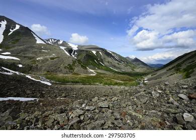 Polar Urals Mountains landscape with views of the Research ridge. Komi Republic, Russia