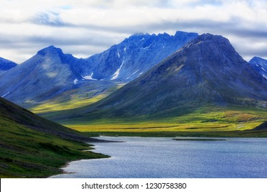 Polar Urals, a summer landscape with mountains, a lake of Hadata.