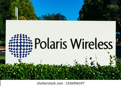 Polaris Wireless sign at headquarters of 3D mobile location company in Silicon Valley - Mountain View, California, USA - 2019