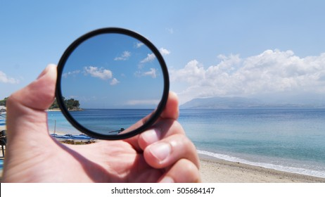 Polarizing filter for camera lens in photography