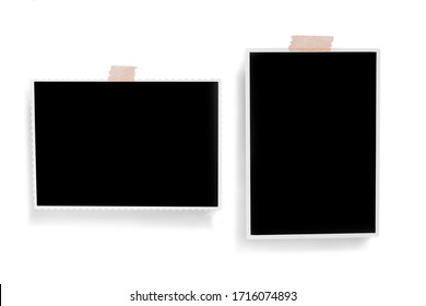 Polaroid photo frames. Square frame template with shadows isolated on transparent background.