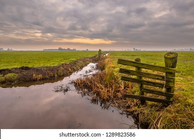 Polder landscape on cloudy winter day in Friesland, the Netherlands