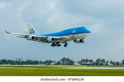 Polderbaan Schiphol Airport, the Netherlands - August 20, 2016: KLM Air France Boeing 747 landing at Amsterdam Schiphol Airport