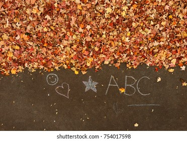 Pole aerial of autumn leaves on pavement with chalk drawings.