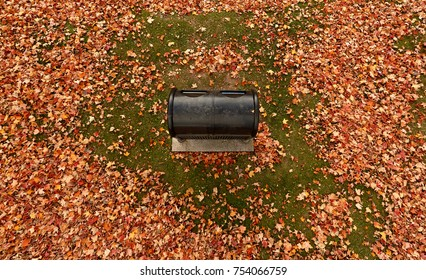 Pole aerial of black garbage container surrounded by autumn leaves on grass.