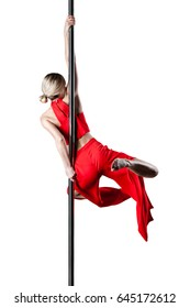 pole dance girl in elegant red outfit posing against white background