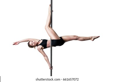pole dance girl exercising and posing against white background