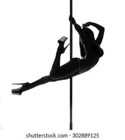 pole dance woman silhouette