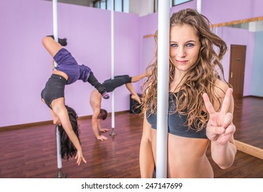 pole dancing and gymnastic course. concept about wellness and sport