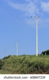 Pole of the electricity distribution network, installed in countryside of Brazil