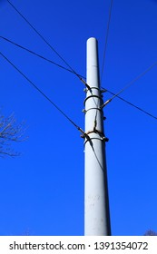 Pole of overhead catenary, part of overhead line equipment of transport electrification system