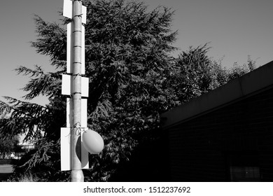 A pole showing the backs of some signs and a solitary baloon